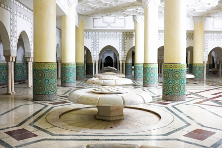 turkish bath: Interior arches and mosaic tile work of hammam turkish bath in Hassan II Mosque in Casablanca, Morocco. Editorial
