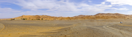 erg: Panorama from the Erg Chebbi desert in Maroc Africa