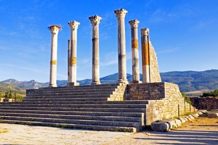 Volubilis - Romeinse basiliek ruïnes in Marokko, Noord-Afrika