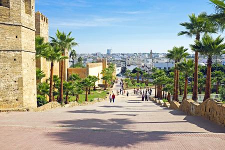 Stadsmuur van het oude Rabat in Marokko Afrika