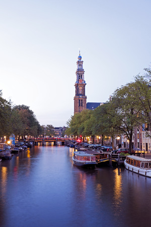 westerkerk: Amsterdam by night with the Westerkerk in the Netherlands Stock Photo
