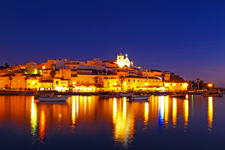 Ferragudo at night - a typical city of Algarve Portugal photo