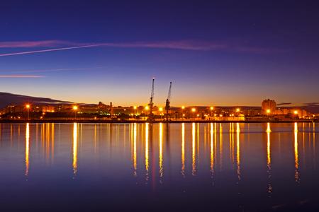 barlavento: Harbor from Portimao at night in Portugal Stock Photo