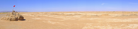 Panorama with water well in Sahara Desert, Morocco photo