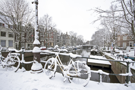 Amsterdam in winter in the Netherlands photo