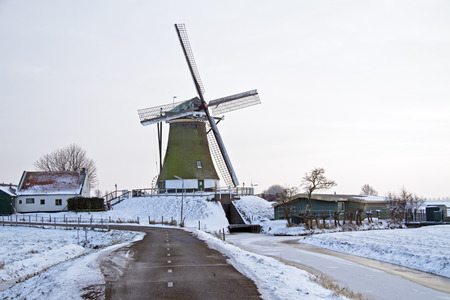 traditional windmill: Traditional windmill in the countryside from the Netherlands in winter