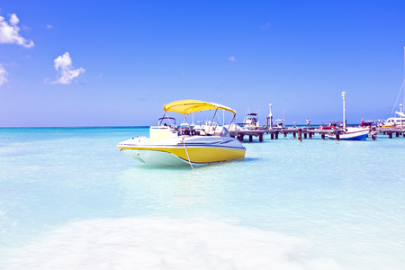 Motor yachts in the caribbic sea on Aruba photo