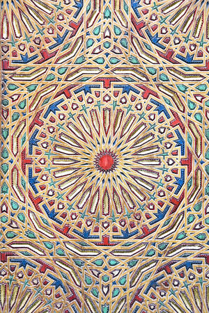 Ancient colored wood pattern, contemporary moroccan style photo