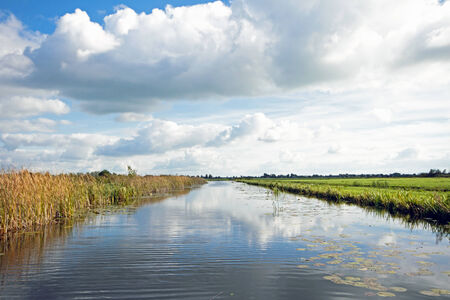 cloudscapes: Typical wide dutch landscape with meadows, water and cloudscapes