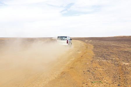erg: Driving in the desert in Morocco