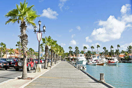 aruba: Harbor of Aruba Island in the Caribbean sea Stock Photo