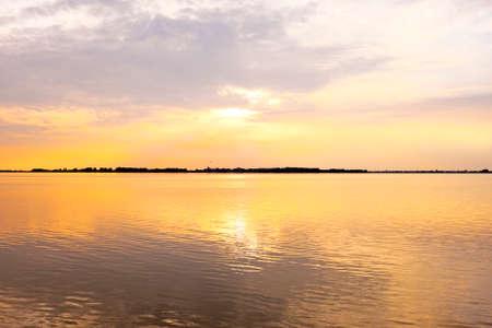 ijsselmeer: Sunset at the IJsselmeer in the Netherlands near Amsterdam