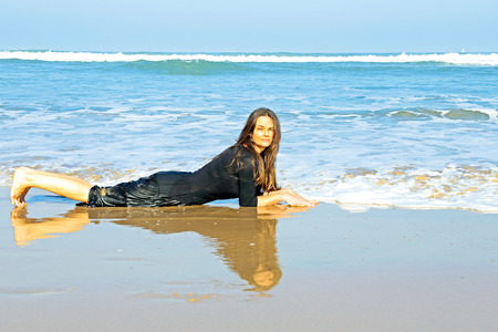 lesbian sexy: Beautiful woman in the water from the ocean Stock Photo