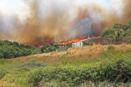 firestorm: Forest fire burning a house in Portugal