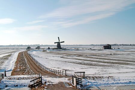 achitectural: Traditional windmill in the countryside from the Netherlands in winter