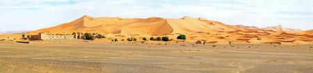 erg: Panorama from the Erg Chebbi desert in Morocco