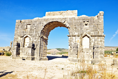 3rd century: Old gate at Volubilis in Morocco. Volubilis is a partly excavated Roman city in Morocco situated near Meknes between Fes and Rabat. It was developed from the 3rd century BC onwards as a Phoenician Carthaginian settlement