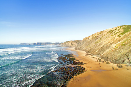 vale: Aerial from Praia Vale Figueiras at the westcoast in Portugal Stock Photo