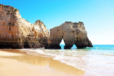 tres: Natural rocks at Praia Tres Irmaos in Alvor Portugal