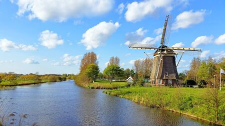 traditional windmill: Traditional windmill in the countryside near Amsterdam Netherlands Stock Photo