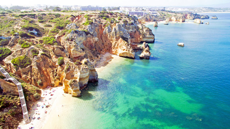 lagos: Aerial from natural rocks near Lagos in the Algarve Portugal Stock Photo