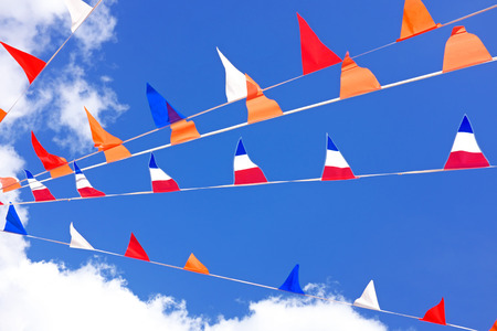 Orange flags celebrating kings day in the Netherlands Stockfoto