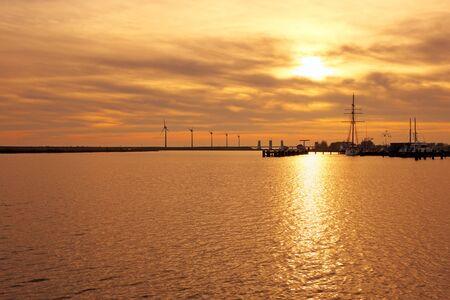 ijsselmeer: Sunset at the IJsselmeer in the Netherlands