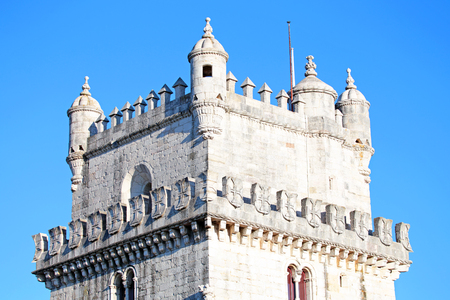 Detail van de toren van Belem in Lissabon Portugal Stockfoto