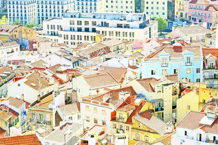 baixa: Lisbon houses in Portugal Europe Stock Photo