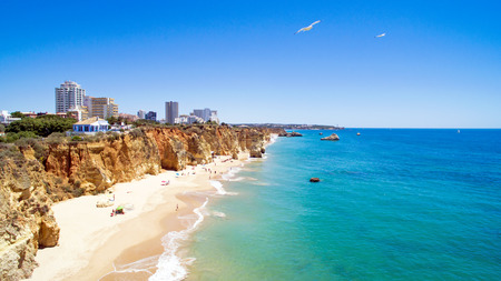 praia: Aerial from Praia da Rocha in the Algarve Portugal