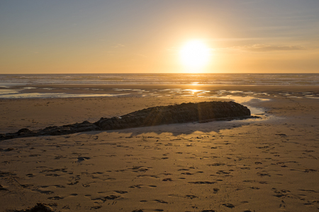 vale: Sunset at Praia Vale Figueiras in Portugal Stock Photo