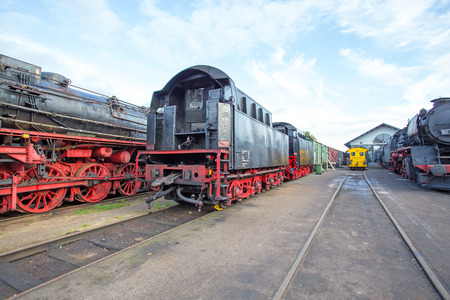 depot: Depot from old fashioned train locomotives Stock Photo