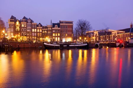 amstel: Amsterdam by night at the Amstel in the Netherlands