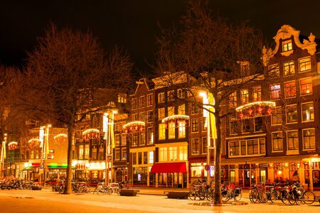 christmas time: Amsterdam at night in christmas time in the Netherlands