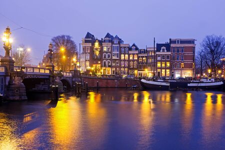 amstel: City scenic from Amsterdam at the Amstel in the Netherlands Stock Photo