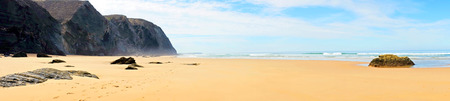 vale: Panorama from Vale Figueiras beach in Portugal