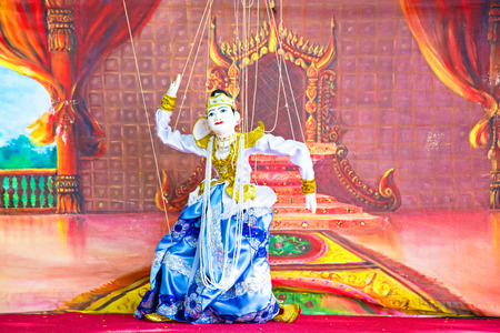 yoke: BAGO, MYANMAR - November 17, 2015: Yoke th is the Burmese name for marionette puppetry.Burmese marionettes are very intricate and dexterous As They employ 18 or 19 wires for male and female characters respectively, and each puppet is controlled by only on