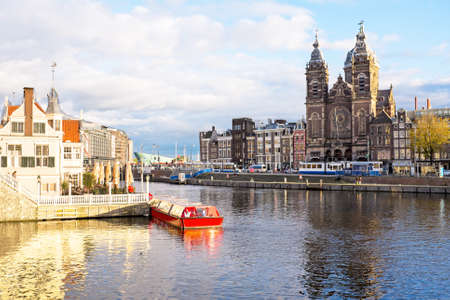 buildings city: City scenic from Amsterdam in the Netherlands with the St. Niklaas church