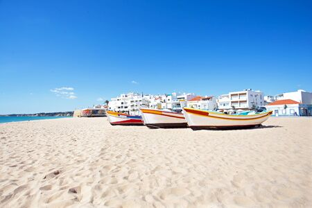 armacao: Fisher boats  at the beach in Armacao de Pera in Portugal