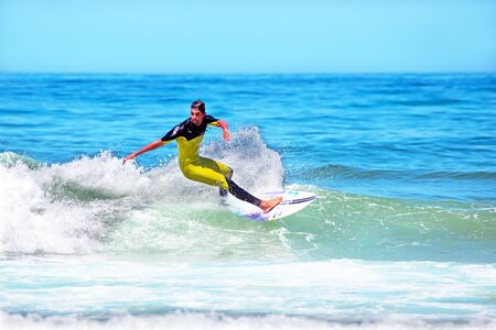 vale: VALE FIGUEIRAS - AUGUST 20: Professional surfer surfing a wave on august 20 2014 at Vale Figueiras in Portugal