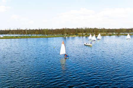 plassen: Sailing a Loosdrechtse Plassen in the Netherlands Stock Photo