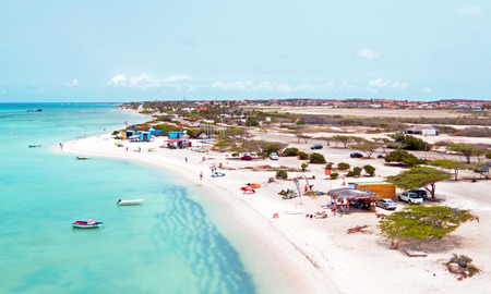 watersports: Aerial from Aruba at Fishermans Huts in the Caribbean Stock Photo