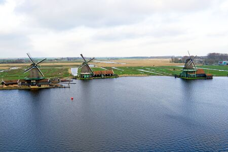 the netherlands: Traditional windmills at Zaanse Schans in the Netherlands