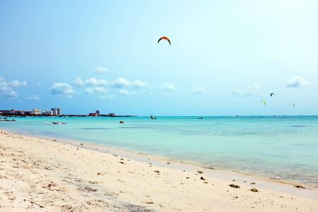 kite surfing: Kite surfing at Fishermans Huts on Aruba in the Caribbean
