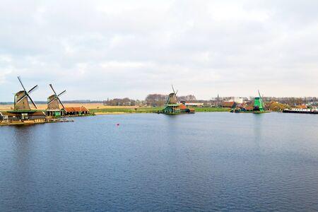 zaan: Traditional windmills at Zaanse Schans in the Netherlands