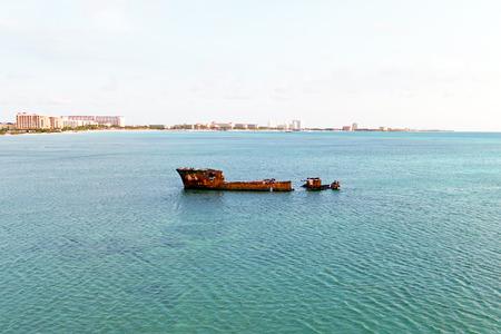 ship wreck: Ship wreck at the coast from Aruba island in the Caribbean Sea