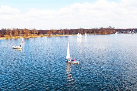 plassen: Aerial from sailing at Loosdrechtse plassen in the Netherlands