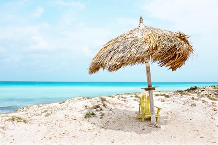 palapa: Grass umbrella at the beach on Aruba island  in the Caribbean