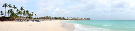 caribbean beach: Panorama from Manchebo beach on Aruba island in the Caribbean sea