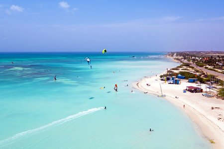 kite surfing: Aerial from kite surfing on Aruba island in the Caribbean Sea Stock Photo